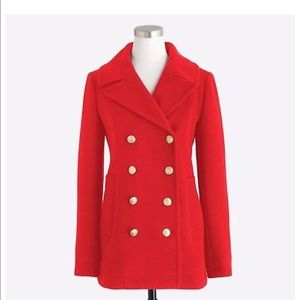 Red J crew double breasted pea coat. Size 0